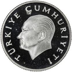 TURKEY: Republic, AR 500 lira, 1989. PF