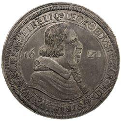 AUSTRIA: Leopold V, Governor, 1619-1625, AR thaler, Hall, 1621. EF
