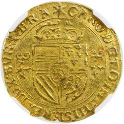 BRABANT: Charles V, 1506-1555, AV couronne d'or au soleil (3.40g), Antwerp, 1544. NGC MS63