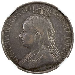 CYPRUS: Victoria, 1878-1901, AR 18 piastres, 1901. NGC EF