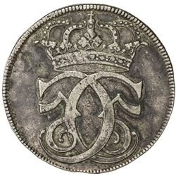 DENMARK: Christian V, 1670-1699, AR 4 mark (krone) (22.49g), 1685. VF