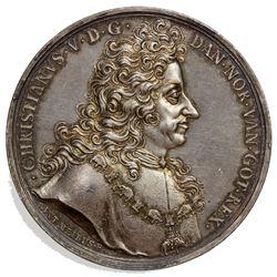 DENMARK: Christian V, 1670-1699, AR medal (82.21g), ND. UNC