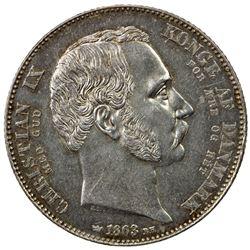 DENMARK: Christian IX, 1863-1906, AR 2 rigsdaler, 1863. AU