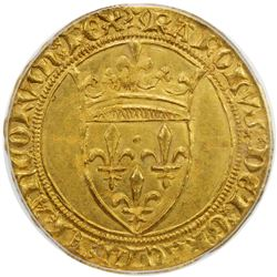 FRANCE: Charles VI, 1380-1422, AV ecu d'or a la couronne, Montpellier. PCGS MS62