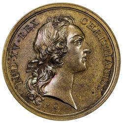 FRANCE: Louis XV, 1715-1774, AE medal (35.77g), 1745. UNC