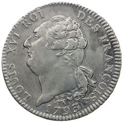 FRANCE: First French Republic, AR ecu de 6 livres, 1793-A/L'AN 5. EF