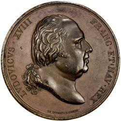 FRANCE: Louis XVIII, 1814-1824, AE medal (71.65g), 1822. EF-AU