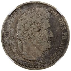 FRANCE: Louis Philippe I, 1830-1848, AR 5 francs, ND (1830-31). NGC VF35