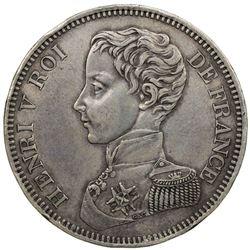 FRANCE: Henri V, Pretender, 1830-1883, AR 5 francs, 1831. EF