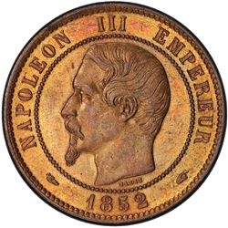 FRANCE: Napoleon III, 1852-1870, AE 10 centimes, 1852-A. PCGS MS64