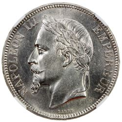 FRANCE: Napoleon III, 1852-1870, AR 5 francs, 1870-A. NGC MS63
