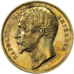 FRANCE: Napoleon III, 1852-1870, gilt AE medal, 1858. EF