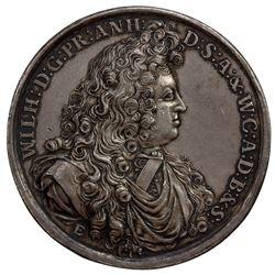 ANHALT-HARZGERODE: Wilhelm, 1670-1709, AR medal (56.04g), 1695. EF