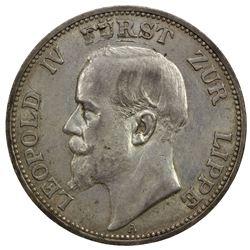 LIPPE-DETMOLD: Leopold IV, 1905-1918, AR 3 mark, 1913-A. EF-AU