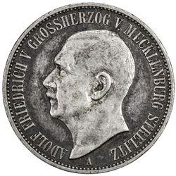 MECKLENBURG-STRELITZ: Adolf Friedrich V, 1904-1914, AR 3 mark, 1913-A. VF