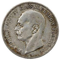 OLDENBURG: Friedrich August, 1900-1918, AR 2 mark, 1901-A. EF