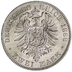 PRUSSIA: Wilhelm II, 1888-1918, AR 2 mark, 1888-A. AU