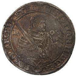 SAXE-ALBERTINE LINE: Christian II, 1591-1611, AR thaler, Dresden, 1605. EF-AU