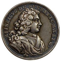 SAXE-ROMHILD: Heinrich III, 1680-1710, AR medal (17.94g), 1698. VF