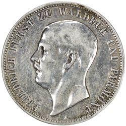 WALDECK-PYRMONT: Friedrich, 1893-1918, AR 5 mark, 1903-A. F