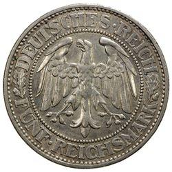 GERMANY: Weimar Republic, AR 5 reichsmark, 1928-G. AU