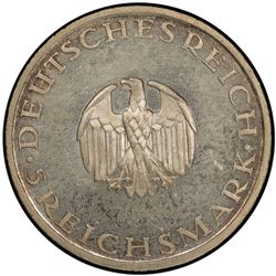 GERMANY: Weimar Republic, 1918-1933, AR 5 reichsmark, 1929-G. PCGS MS63