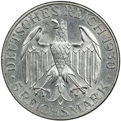 GERMANY: Weimar Republic, 1918-1933, AR 5 reichsmark, 1930-A. PCGS AU