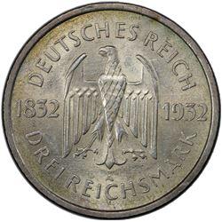 GERMANY: Weimar Republic, 1918-1933, AR 3 reichsmark, 1932-A. PCGS MS62