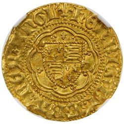 ENGLAND: Henry VI, 1422-1461, AV 1/4 noble (1.71g), London. NGC MS63