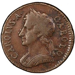 GREAT BRITAIN: Charles II, 1660-1685, AE farthing, 1674. PCGS VF35