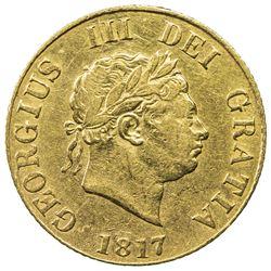 GREAT BRITAIN: George III, 1760-1820, AV 1/2 sovereign, 1817. VF