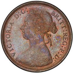 GREAT BRITAIN: Victoria, 1837-1901, AE halfpenny, 1881-H. PCGS MS64