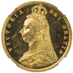 GREAT BRITAIN: Victoria, 1837-1901, AV 1/2 sovereign, 1887. NGC PF63