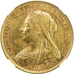 GREAT BRITAIN: Victoria, 1837-1901, AV 5 pounds, 1893. NGC UNC