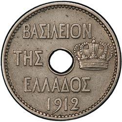GREECE: George I, 1863-1913, 10 lepta, 1912. PCGS AU58