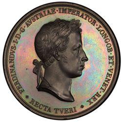 LOMBARDY-VENETIA: Ferdinand I, of Austria, 1835-1848, AE medal, 1838. PCGS SP64
