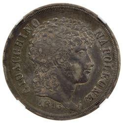 NAPLES & SICILY: Gioacchino Murat, 1808-1815, AR 2 lire, 1813. NGC EF45