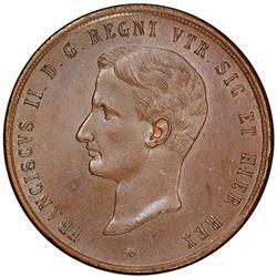 NAPLES & SICILY: Francesco II, 1859-1861, AE 10 tornesi, 1859. PCGS MS63