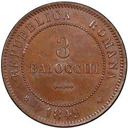 ROMAN REPUBLIC: Second Republic, 1848-1849, AE 3 baiocchi, 1849-R. PCGS MS64