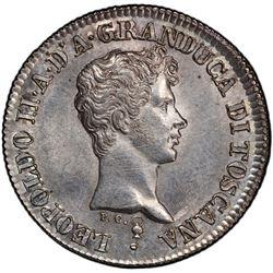 TUSCANY: Leopoldo II di Lorena, 1824-1859, AR fiorino, 1842. PCGS MS63