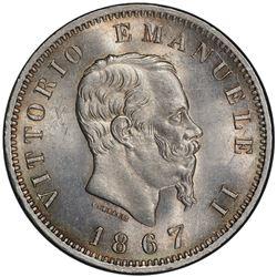 ITALY: Vittorio Emanule I, 1861-1878, AR lira, 1867-M