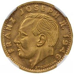 LIECHTENSTEIN: Prince Franz Josef II, 1938-1990, AV 20 francs, 1946-B. NGC MS65