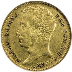 NETHERLANDS: Willem I, 1815-1840, AV 10 gulden, 1829-B. NGC EF40