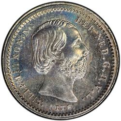 NETHERLANDS: Willem III, 1849-1890, AR 5 cents, 1876. PCGS MS67