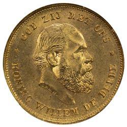 NETHERLANDS: Willem III, 1849-1890, AV 10 gulden, 1875. NGC MS65