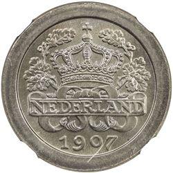 NETHERLANDS: Wilhelmina, 1890-1948, 5 cents, 1907. NGC MS67