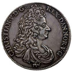 NORWAY: Chrisrtian V, 1670-1699, AR speciedaler, 1695. EF