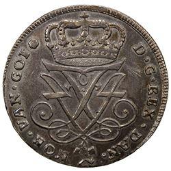 NORWAY: Frederik IV, 1699-1730, AR 4 mark, 1725. EF