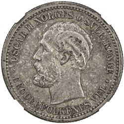 NORWAY: Oscar II, 1872-1907, AR krone, 1877. NGC EF45