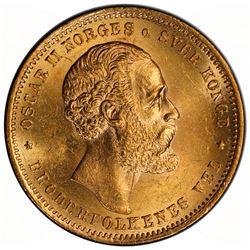 NORWAY: Oscar II, 1872-1907, AV 20 kroner, 1874. PCGS MS63